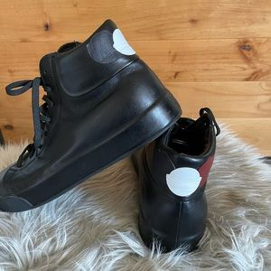 Moncler black leather high top sneakers